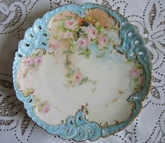 C1880 Antique Limoges ROSES Plate Charger Gilded Hand Painted
