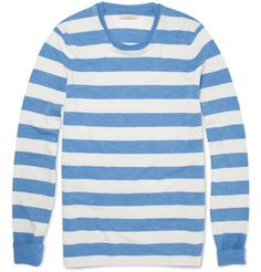 Burberry BritStriped Wool-Blend Sweater in Blue
