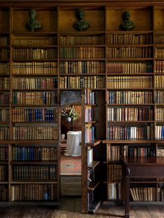 Hidden room behind the bookcase.