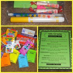 4th Grade Survival Kits.  How cute!