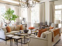 Colorful Connecticut Home - Suzanne Kasler Design - Veranda interior design, decor, living rooms, orang, color, living room designs, hous, live room, suzann kasler