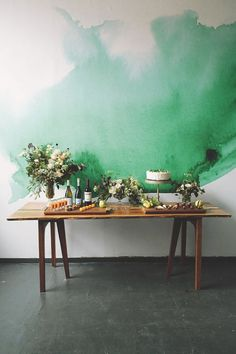 This watercolor wall mural is gorgeous.