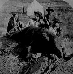 "Our First Grizzly, killed by Gen. Custer and Col. Ludlow."" By lllingworth, 1874, during Black Hills expedition."