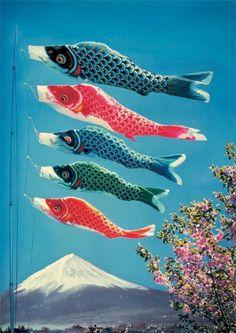 Carp streamer koinobori japan on pinterest for Japanese fish flag