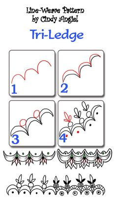 Tri-Ledge-Pattern - too complicated for a tangle pattern. As a non-representative, easy to remember and repeat the tangle should stop at step 3. Anything beyond that would be a variation. I think this drawer is a doodler rather than a tangler! ;) Mo