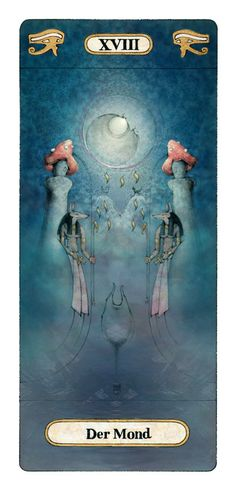 The Moon, Reinhard Schmid Tarot Card painting. Oooh, I wonder if this is a deck yet....