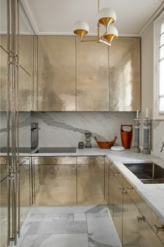 hammered silver + marble : kitchen by jean-louis deniot