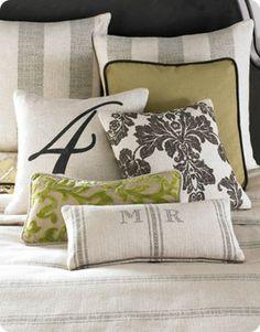 Stenciled Pillows to Lighten Up a Dark Room