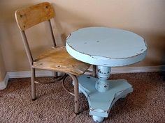 tiny distressed blue side table