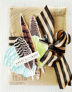 Gift Wrapping Ideas #feathers #paper #ribbon #pattern #gift #wrapping #packaging #stripes