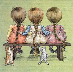 3 cat, friends, bench, girlfriend, art, braids, children, three sister, kittens