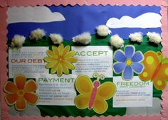 Easter Bulletin Board..yes it is real wool and students can touch it...