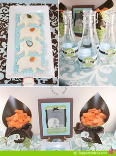 #Elephant Party Decorations - Love the DIY Vases with the circle labels!