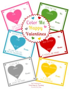 FREE Printable Color Me Happy Valentines Using One Crayon per Card via Yesterday on Tuesday #valentines #kidsvalentines #freevalentines #crayons #crayolacrayons