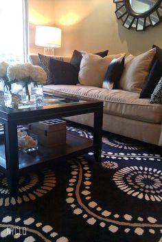 tan and black living room!