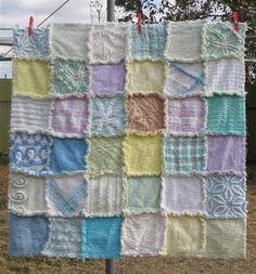 Vintage chenille rag patchwork quilt