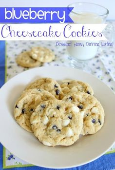 Blueberry Cheesecake Cookies- made with a blueberry muffin mix, these cookies couldn't be any easier! | DessertNowDinnerLater.com #cookies #blueberry #cheesecake #muffinmix #dessert