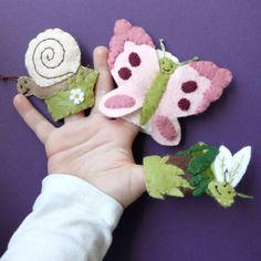 Felt finger puppets spring butterfly snail
