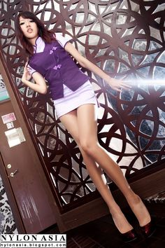 Hot Asian Stewardess Pink Short Skirt Legs