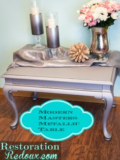 A metallic makeover with Modern Masters Pewter Metallic Paint on a $5 table | By Restoration Redoux | Enter this giveaway for your chance to win Modern Masters products! Ends 2/4/14