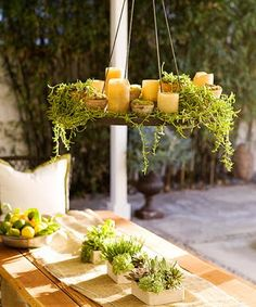 love this idea for an outdoor chandelier