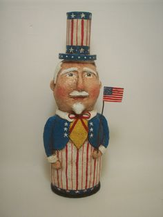Primitive Paper Mache Folk Art Uncle Sam by papiermoonprimitives, $95.00