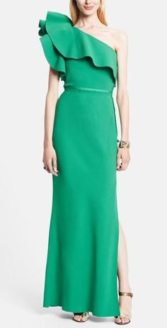Gorgeous! Emerald Lanvin Ruffle One Shoulder Gown