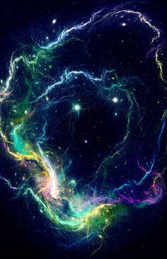 """Space Storm."" My edit. Nebula, stars, cosmos, fractals"