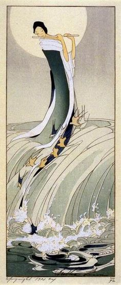 Bertha Lum 1916 Woodblock print Song of the Brook