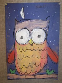 Kindergarten owl drawing chalk pastels animals night kinders art lesson project