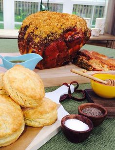 @Cristina Ferrare  cooks an Easter Ham with Golden Bread Crumbs and Madeira Sauce! #homeandfamily #homeandfamilytv #ham #Easter #madeira #breadcrumbs #biscuits