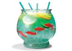 """SUMMER DRINK! ½ cup Nerds candy,  ½ gallon goldfish bowl, 5 oz vodka, 5 oz Malibu rum,  3 oz Blue Curacao,  6 oz sweet-and-sour mix,  16 oz pineapple juice,  16 oz Sprite,  3 slices each: lemon, lime, orange,  4 Swedish gummy fish. Sprinkle Nerds on bottom of bowl as """"gravel."""" Fill bowl with ice. Add remaining ingredients. Serve with 18-inch party straws."""