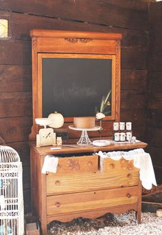 Dresser rental with chalkboard | cake table