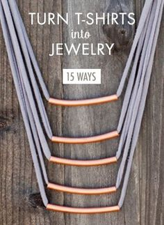 15 Easy Ways To Turn T-shirts Into Jewelry | Brit + Co. summer crafts, t shirt jewelry, turn tshirt, diy fashion, decorating ideas, 15 easi, diy jewelry, diy gifts, old t shirts