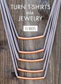 summer crafts, t shirt jewelry, turn tshirt, diy fashion, decorating ideas, 15 easi, diy jewelry, diy gifts, old t shirts