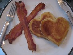 If only I could freehand perfectly heart-shaped pancakes. X's and O's valentines breakfast.