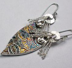 Metal clay earrings, patina.  Beautiful!