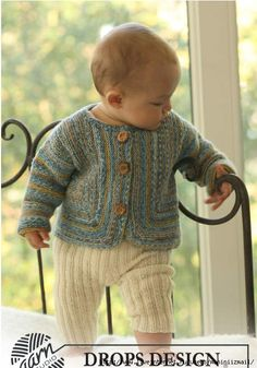 Knitted jacket in garter st and pants for toddler