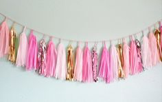 It's A Girl Pink Gold Silver Tassel Garland by StudioMucci on Etsy, $35.00