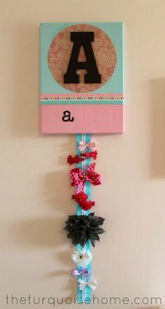DIY Monogrammed Name Art and Ribbon Holder