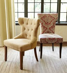 Pier 1 Hourglass Gold Damask and Carmilla Red Damask Dining Chairs