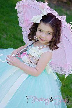 Vintage Mint Tutu Dress- Flower Girl