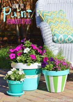 How to Paint Terracotta Pots (that look custom glazed!) #HomeofScotchBlue #3MPartner