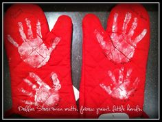 helping hands. oven mitts with the kids handprints. date and age.  makes a great grandparent gift