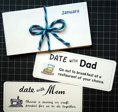 "A Year of Dates.  ""Kids spell love T-I-M-E.""  (John Crudele).  An envelope for each month with a special surprise date inside.  Free Download & Print Parent & Child Date Coupons.  Also 2 pages of blank coupons to create your own dates."