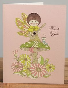 Song Fairy | Red Cap Cards | Illustrated greeting card by Carrie Gifford