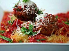 Turkey Meatballs with Spaghetti Squash in Tomato Sauce Recipe : Food Network