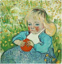 Child with Orange Vincent van Gogh Painting, Oil on Canvas Auvers-sur-Oise, France: June, 1890