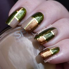 Lucy's Stash: Elegant Squares Manicure featuring SpaRitual Optical Illusion, Conduit and Back To Your Roots http://www.lucysstash.com/2012/07/recreation-of-elegant-squares-manicure.html
