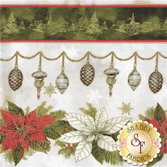 Woodland Christmas 24465-MUL1 By Sandy Lynam Clough For Red Rooster Fabrics: Woodland Christmas is a holiday collection by Sandy Lynam Clough for Red Rooster Fabrics. This fabric features a border stripe design with red and white poinsettias nestled in pine and metallic ornaments. Within the mottled green stripe is little villages etched in metallic gold. The border stripe is measured at 12 1/2